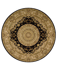 Nourison Round Area Rug, Wool & Silk 2000 2233 Black 4'