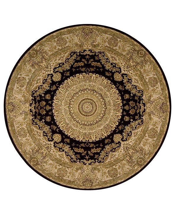 Nourison Wool and Silk 2000 2233 Black 6' Round Rug