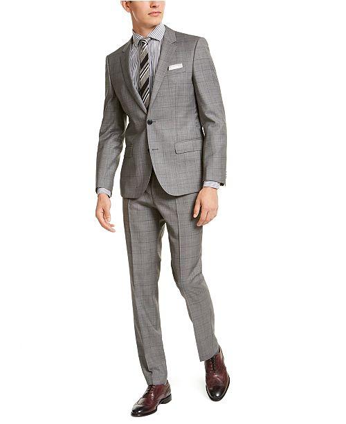 Hugo Boss HUGO Hugo Boss Men's Slim-Fit Gray Windowpane Check Suit Separates