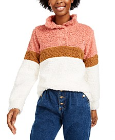 Juniors' Colorblocked Sherpa Pullover