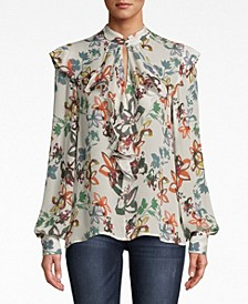 Ruffled Floral-Print Blouse