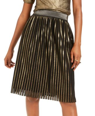 INC Gold Pleated Skirt, Created For Macy's