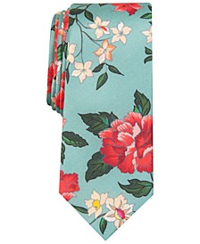 Men's Villa Botanical Skinny Floral Silk Tie, Created For Macy's