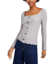 Almost Famous Juniors' Button-Front Pointelle Top