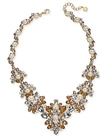 "Gold-Tone Crystal, Stone & Imitation Pearl Statement Necklace, 17-1/2"" + 2"" extender, Created For Macy's"