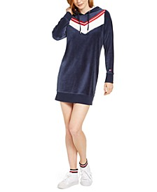 Velour Varsity Chevron Dress