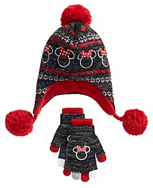 Big Girls 2-Pc. Minnie Mouse Heidi Hat & Layered Gloves Set