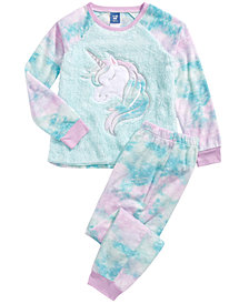 Max & Olivia Little & Big Girls 2-Pc. Unicorn Pajama Set With Faux-Sherpa Trim