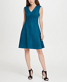 V-Neck Suede Seamed Fit  Flare Dress