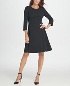 DKNY Leather Waistband Fit  Flare Dress