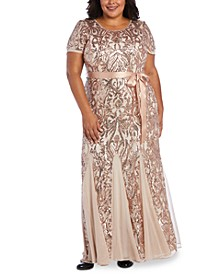 Plus Size Embellished Godet Gown