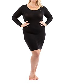 Sonsee Woman Plus Size Long Sleeve Slip