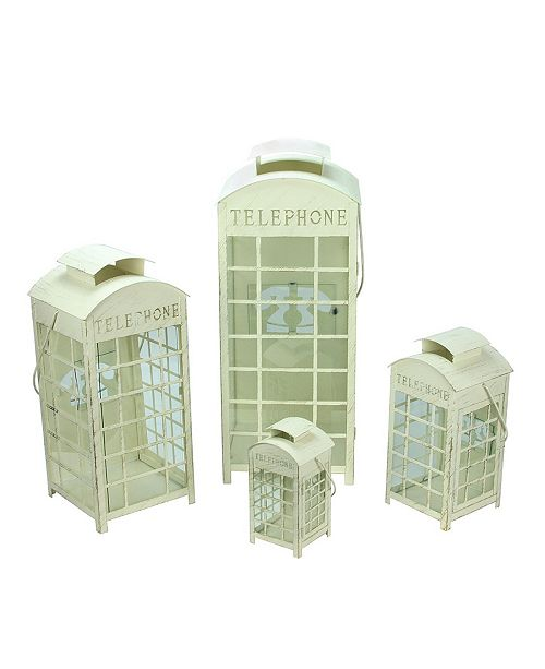 Northlight Set of 4 Weathered Cream and Telephone Booth Glass Pillar Candle Lanterns