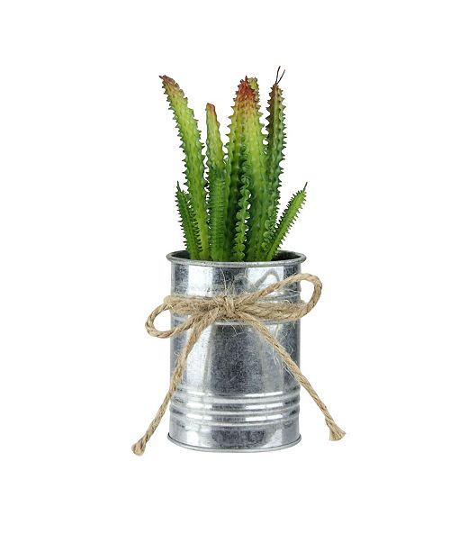 Northlight Ombre Mini Artificial Spiky Greenery in Tin Planter with Twine Bow