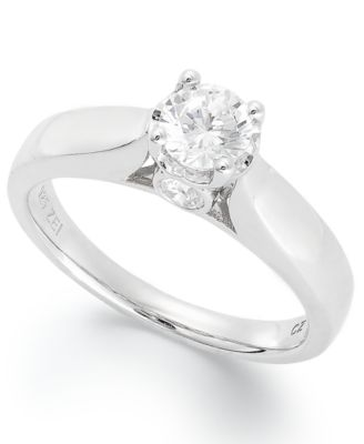 Diamond Engagement Ring in 14k White Gold 34 ct tw Rings