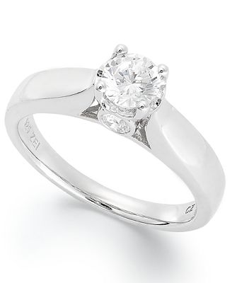 Diamond Engagement Ring in 14k White Gold 3 4 ct t w Rings