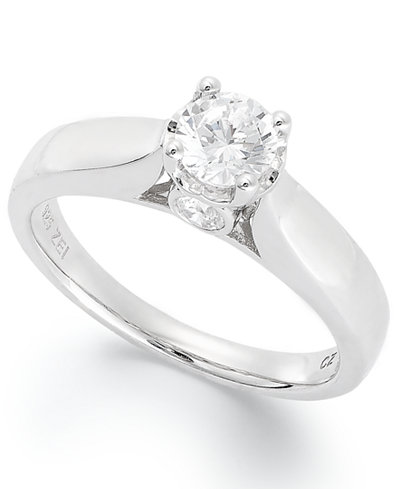 diamond engagement ring in 14k white gold 34 ct tw - Macy Wedding Rings