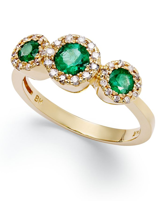 EFFY Collection - Emerald (5/8 ct. t.w.) and Diamond (1/6 ct. t.w.) Three-Stone Ring in 14k Gold