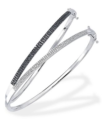 Black and White Diamond Set of Two Bangles in Sterling Silver (1/3 ct. t.w.)
