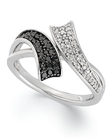 Sterling Silver Ring, Black (1/6 ct. t.w.) and White Diamond (1/10 ct. t.w.) Bypass Ring