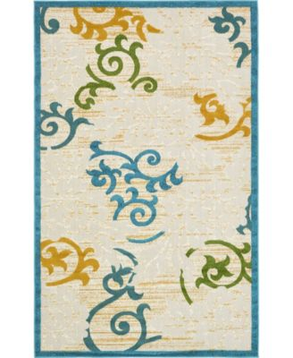 Pashio Pas3 Blue 2' x 6' Runner Area Rug