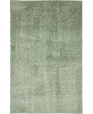 Salon Solid Shag Sss1 Sage Green 5' x 8' Area Rug