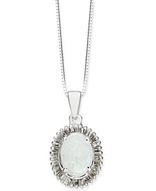 "Opal (3/4 ct. t.w.) & Diamond (1/3 ct. t.w.) 18"" Pendant Necklace in 14k White Gold"