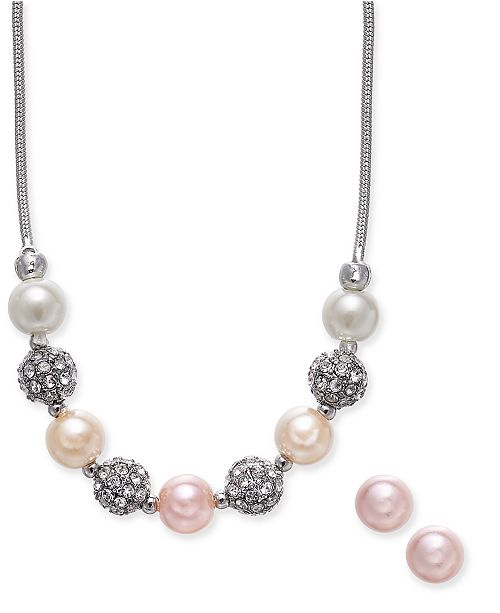"""Charter Club Silver-Tone Pavé Fireball and Imitation Pearl Collar Necklace & Stud Earrings Set, 17"""" + 2"""" extender, Created For Macy's"""
