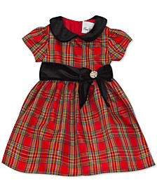 Baby Girls Taffeta-Collar Plaid Dress