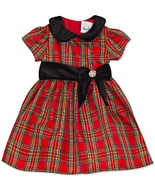 Rare Editions Baby Girls Taffeta-Collar Plaid Dress