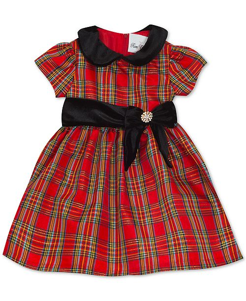 Rare Editions Baby Girls Taffeta-Collar Plaid Dress