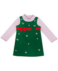 Baby Girls 2-Pc. Dot-Print Bodysuit & Candy-Cane Jumper Set