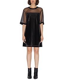 Sequined Mesh T-Shirt Dress