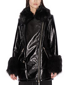 Faux-Leather Faux-Fur-Trim Cabin Coat