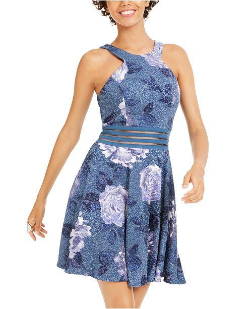 City Studios Juniors' Glitter Floral-Print Skater Dress