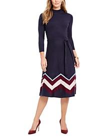 Mock-Neck Belted Dress