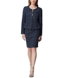 Tahari ASL Plaid Tweed Peplum Jacket & Skirt