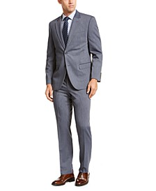 Men's Modern-Fit Bi-Stretch Navy Blue Stripe Big and Tall Suit