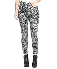 Sculpted Animal Print Ankle Skinny Jeans