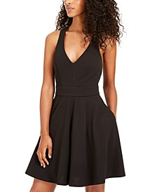 Juniors' Bow-Back Fit & Flare Dress
