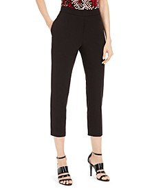 Petite Piped-Trim Cropped Pants