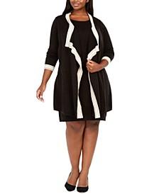Plus Size Attached-Jacket Contrast-Trim Dress