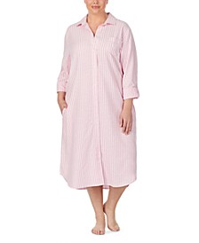 Plus Size Cotton Ballet-Length Herringbone Sleep Shirt