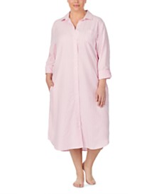 Lauren Ralph Lauren Plus Size Cotton Ballet-Length Herringbone Sleep Shirt