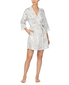 Printed Wrap Robe With Lace Trim