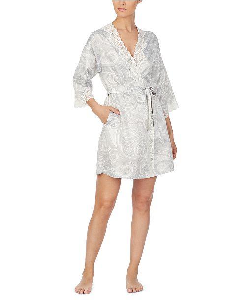 Lauren Ralph Lauren Printed Wrap Robe With Lace Trim