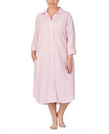 Lauren Ralph Lauren Cotton Brushed-Herringbone Ballet-Length Sleepshirt