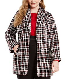 Plus Size Tweed Plaid Topper Jacket