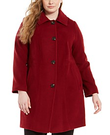 Anne Klein Plus Size Single-Breasted Club-Collar Coat
