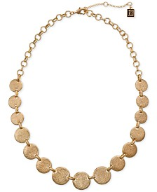 """Laundry by Shelli Segal Gold-Tone Textured Disc Collar Necklace, 16"""" + 2"""" extender"""